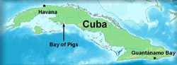 map showing location of the Bay of Pigs