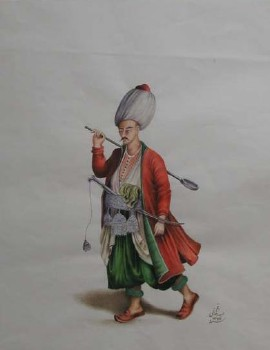Watercolor of a Janissary
