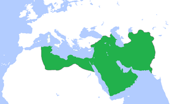 Map of the extent of the Abbasid caliphate, around 850 CE