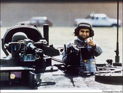 Michael Dukakis, on tank