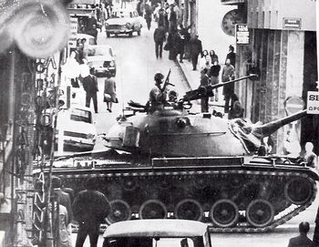 In Athens, tanks heading for the university