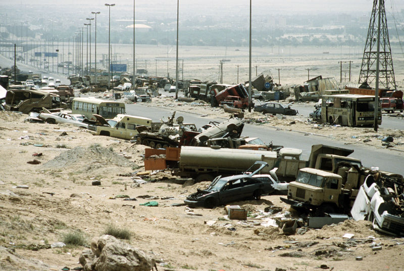Remains of an Iraqi column fleeing from Kuwait City