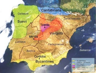 map of Hispania, around the year 560