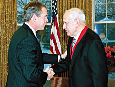 Donald Kagan receiving a National Humanities Medal from President Bush