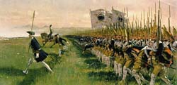 Prussians under Frederick the Great marching into the Battle of Hohenfriedberg