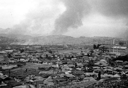 Photo of Soeoul railway yards controlled by the North under bomb attack
