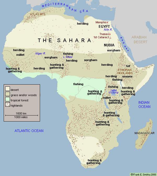 Map of Africa, 2500 to 1500 BCE