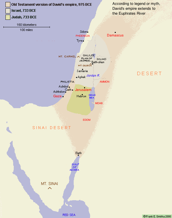 Map of Israel and Judah to 733 BCE
