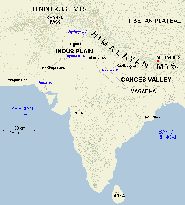 Map of India, to 500 BCE