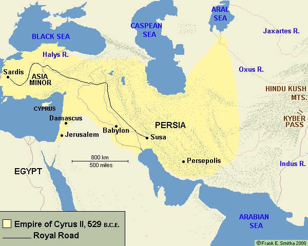 Map: The Empire of Cyrus II