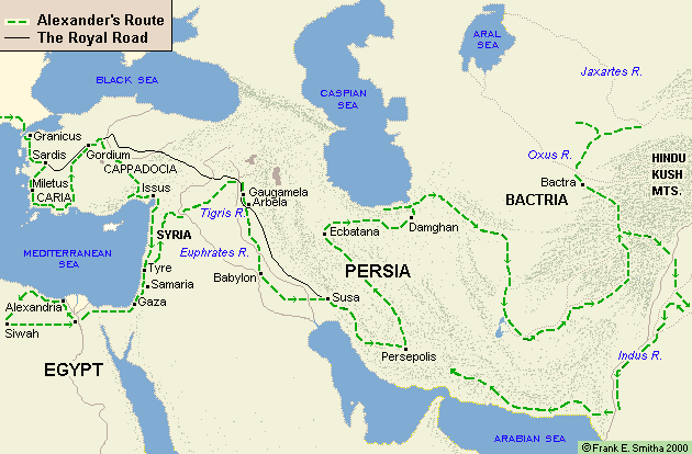 Map of Alexander the Great's move through the East