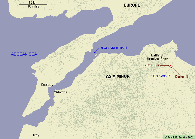 Map: Hellespont and the Battle of Granicus River