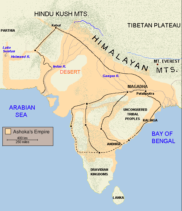 Map of India: The Empire of Asoka