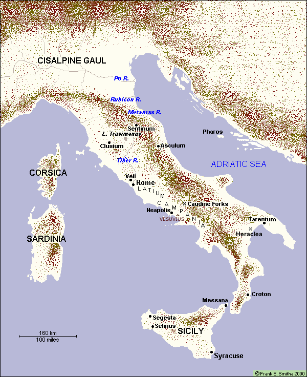 Map of Ancient Italy and Sicily, 200 to 400 BCE