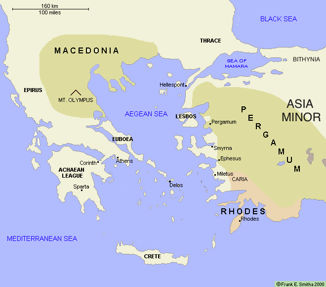 Map: The Aegean Region, 185 BCE