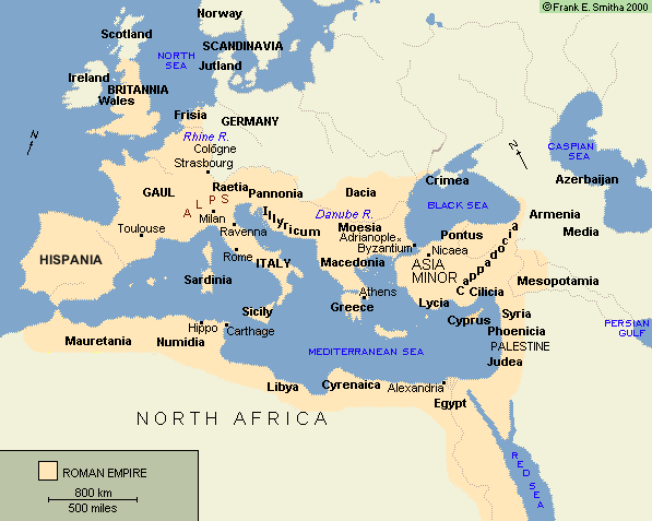 Map: Roman Empire, CE 150