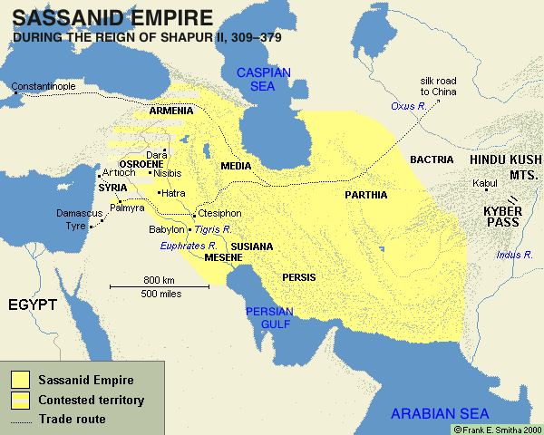 Map of the Sassanid Empire