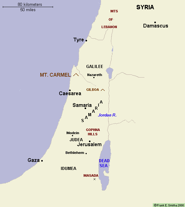 Map: Ancient Judea, Galilee, Idumea