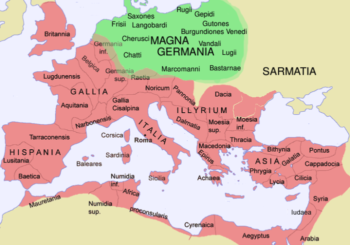 Map: Roman Empire and Magna Germania, 2nd century