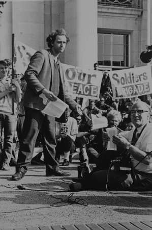 Mario Savio on the steps of Sproul Hall