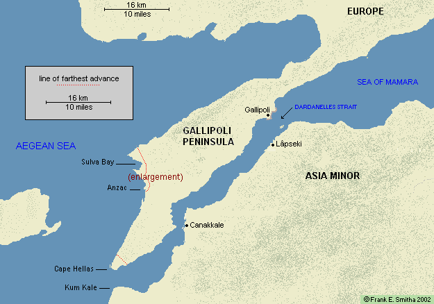 Map: Gallipoli landings