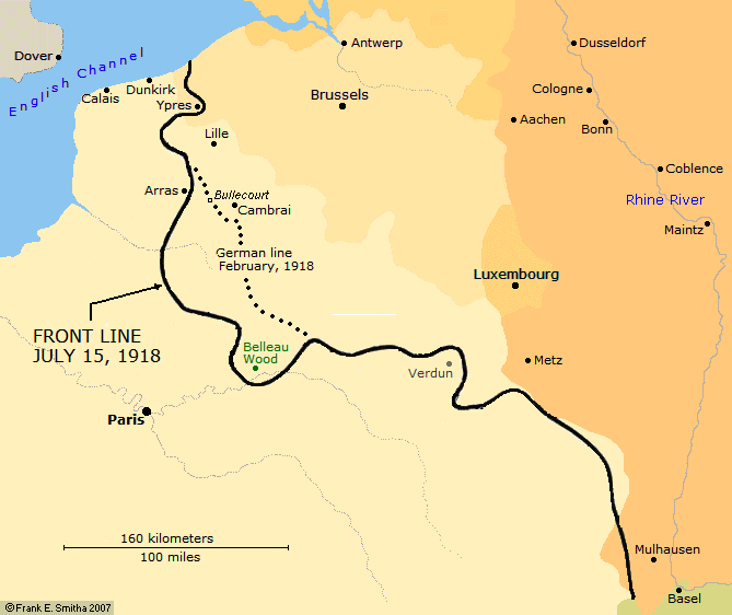 Map: Germany's Farthest Advance, 1918