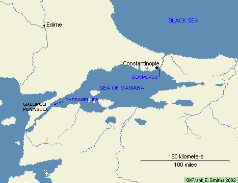Map: Gallipoli, the Dardanelles and Bosporus