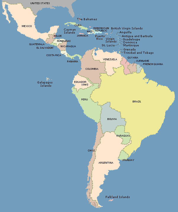 Map: Latin America, 20th century