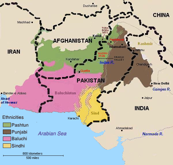 Ethnic distribution: Pushtun, Punjabi, Baluchi and Sindhi