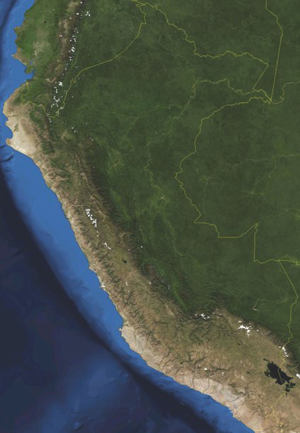 Satellite view of Andes Mts