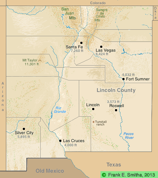 Map: New Mexico 1880