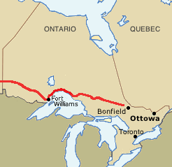 Map of transcontinental railway beginning in Bonfield