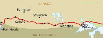 Map of transcontinental railway