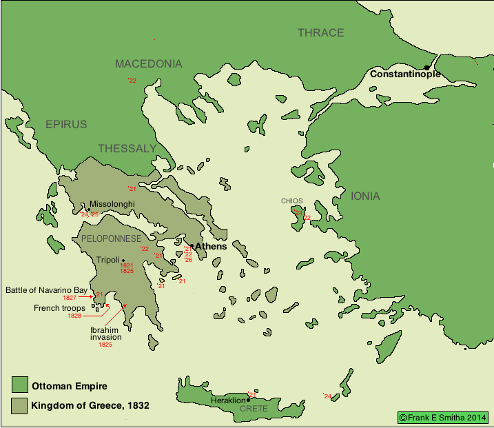 Map of Greece,  1832-1947