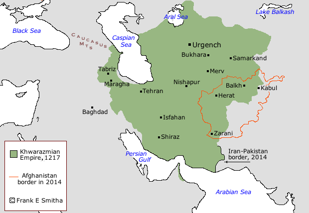 Map: Khwarazmian Empire