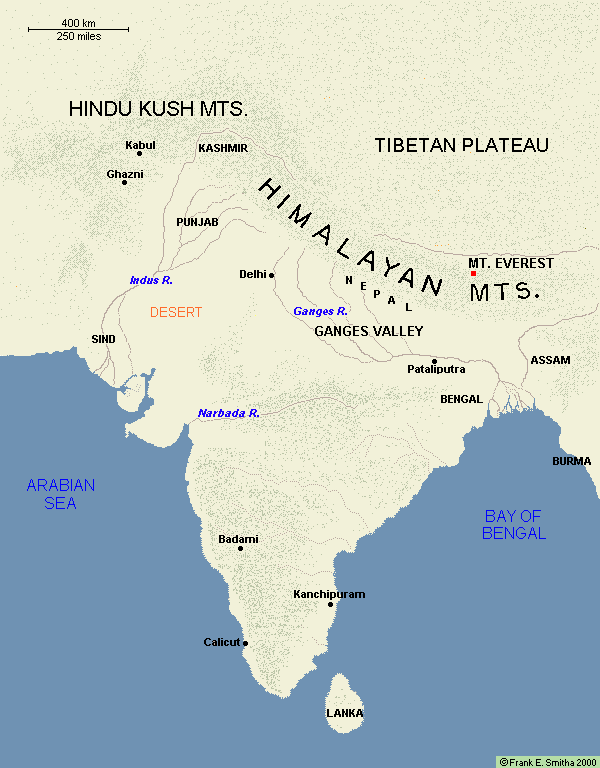 Map: India, 700-1500