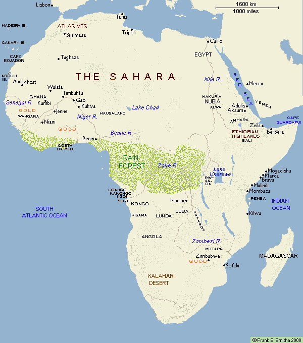 Map: Africa, to CE 1500