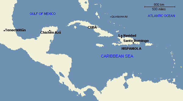 Map: The Islands of the Caribbean, 1492 to 1500