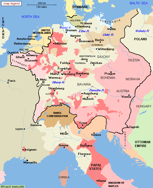 Map: Central Europe, 1648