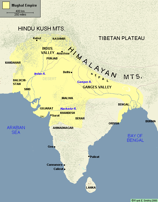 Map: India during the Mughal Empire