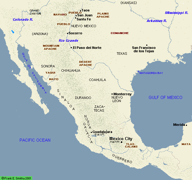 Map: Spaniards from Yucatan to Kansas