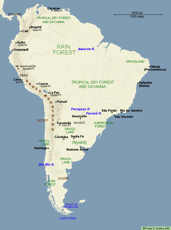 Map: South America to 1700
