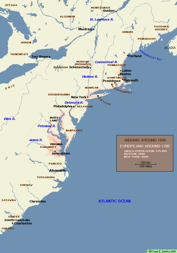 Map: Europeans and Atlantic Coast Indians