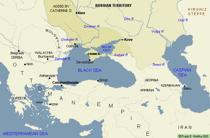 Map: Russia Expands to the Black Sea, 1725-95