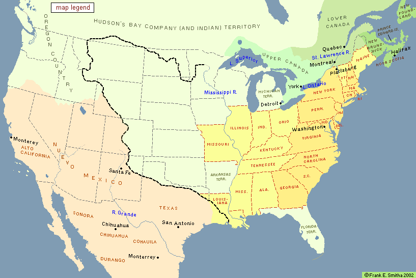 Map: North American  	States, Colonies and Territories, 1830