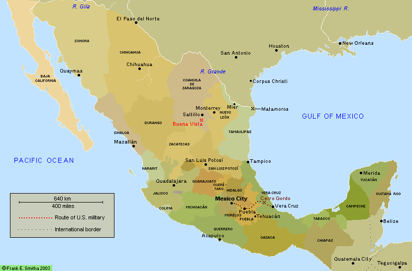 Map: Mexico, to 1848