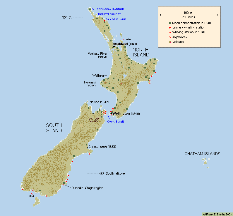 Map: New Zealand in 1840