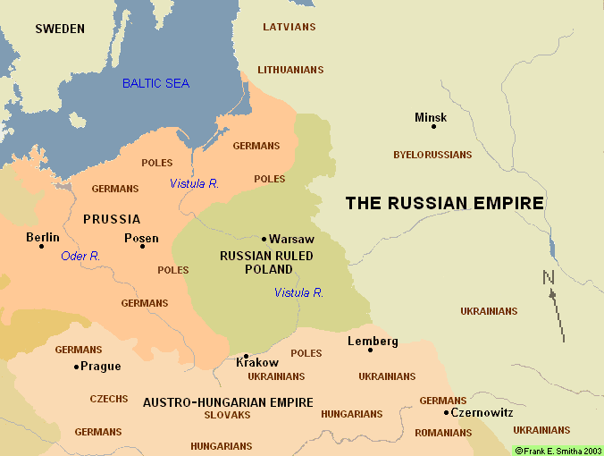 Map: Russia Ruled Poland, 1855