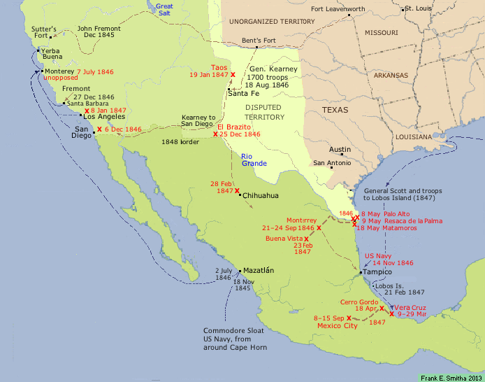 map of Mexican War