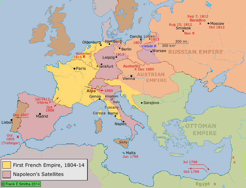 Map: Napoleon's Wars and Empire